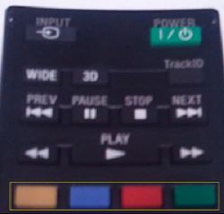 Colored buttons for TVs remote control
