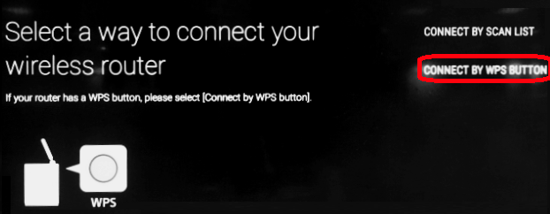 Connect by WPS Button is located on right side of the screen