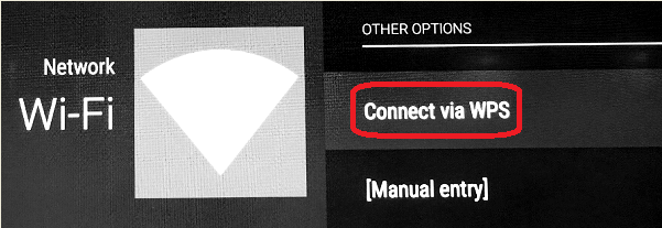 The Connect via WPS button is located on the right side of the screen