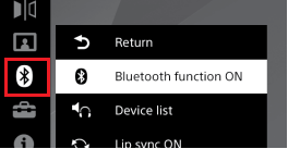 Bluetooth function menu