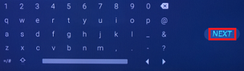 Next button on the on-screen keyboard