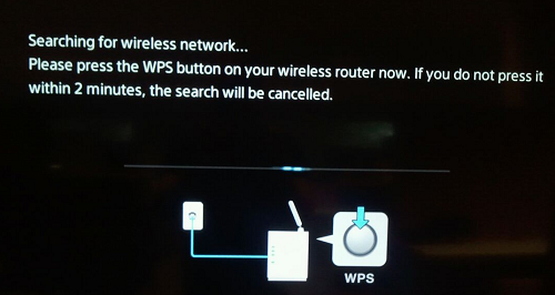 Searching for wireless network message appears
