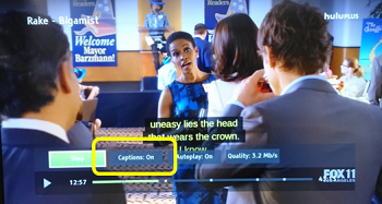 Hulu plus caption on options