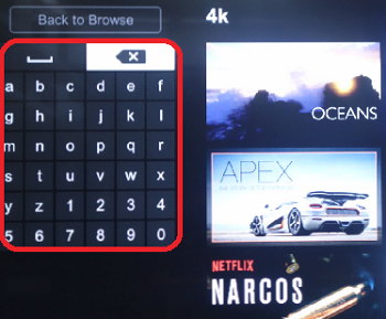 on-screen keyboard on the browse or search function