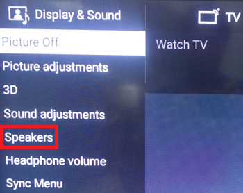 Speakers under ACTION MENU