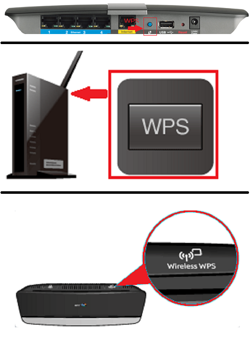 Examples of WPS Push Buttons on routers and modems