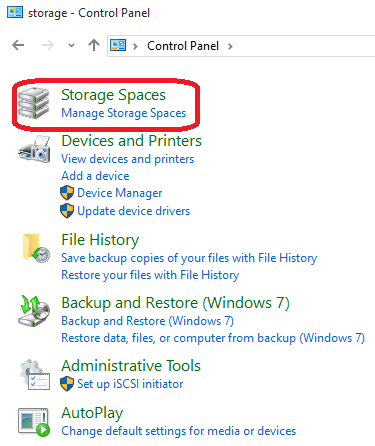 Storage Spaces in Control Panel