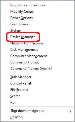 Context menu - Device Manager