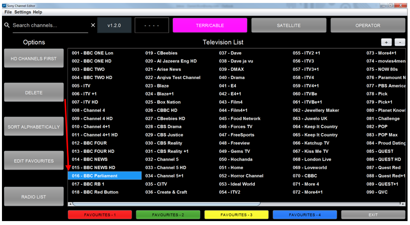 Figure 21: Channel list with deleted channel