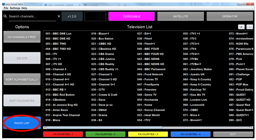Figure 39: Selecting Radio List