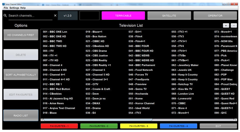 Figure 42: Television services displayed