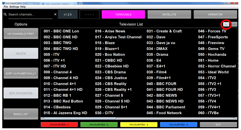 Figure 43: Television List Zoomed In