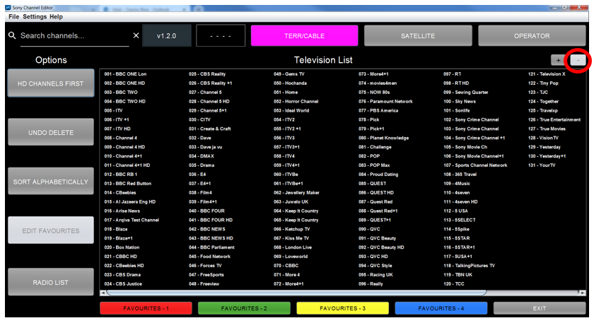 Figure 44: Television List Zoomed Out