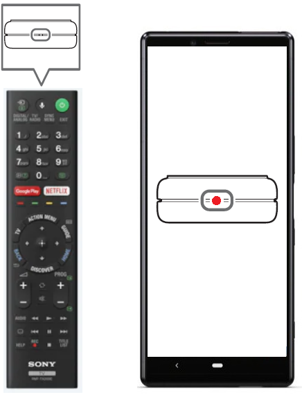 Press any button on the remote while pointing it at the smartphone's camera