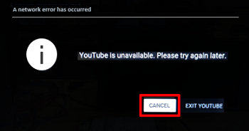 Error: YouTube is unavailable. Please try again later.