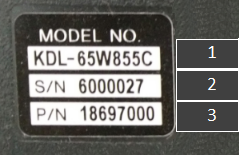 mini TV sticker - model name, serial number and part number