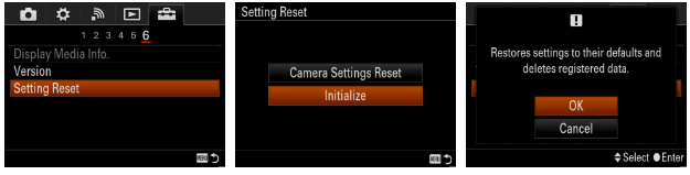Using an Initialize or RESET option in the menu