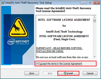 [Intel Anti-Theft Recovery Tool Setup]画面
