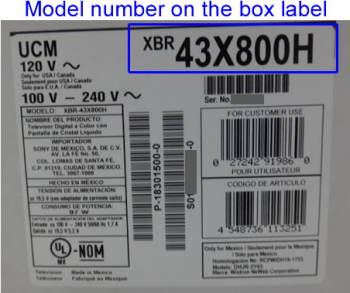 Model number on the box label