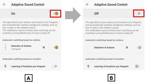 Image of the Adaptive Sound Control Setting