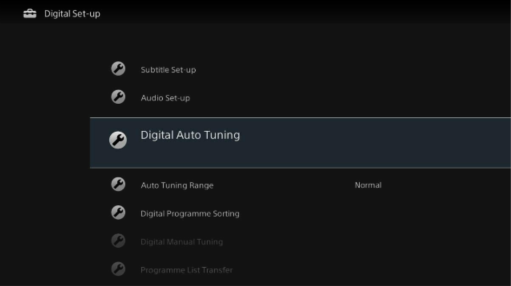 Digital Auto Tuning - Digital Set-up selection