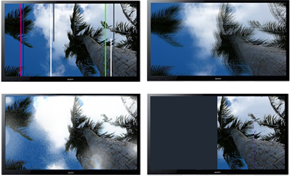 screen - thin vertical lines, double image, thick vertical lines