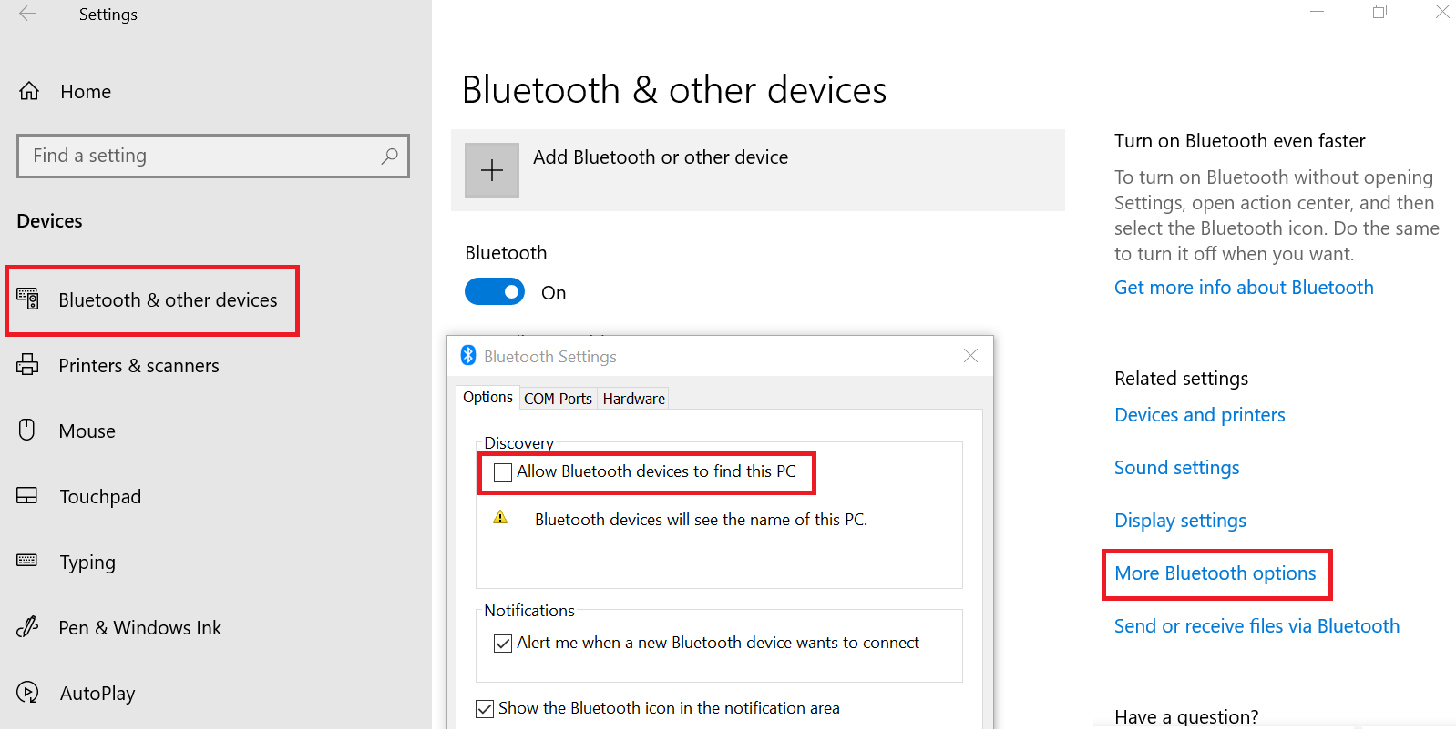 Ativação do Bluetooth no Windows 10