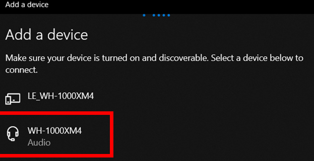 Windows 10 pairing a Bluetooth device. Selecting the device you want to connect.