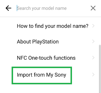 Bookmark import via Support by Sony from My Sony, step 4.