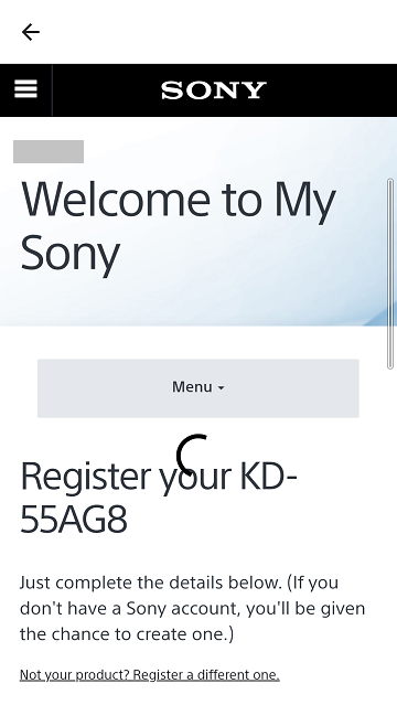 Express registration to My Sony via Support by Sony, step 8.