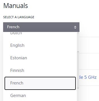 Screenshot of how to select the language of online manuals on the support website
