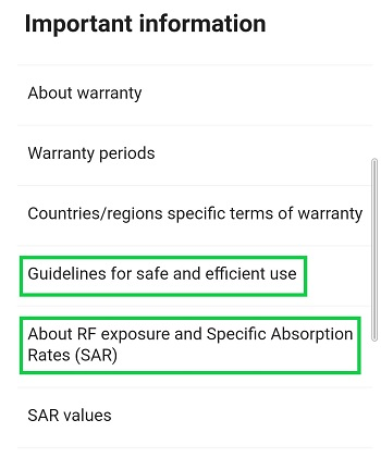 Screenshot of how to access SAR information in your smartphone's settings