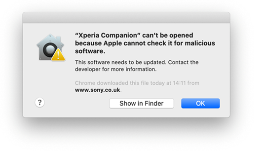 iOS error Xperia Companion