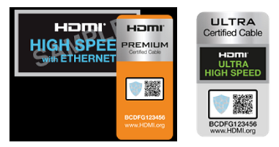 Image of example labels on the packaging of certified HDMI cables.