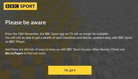 BBC Sport termination announcement displayed on TV screen