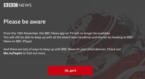 BBC News termination announcement displayed on TV