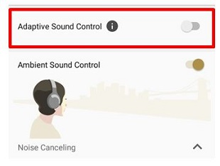 Image turning off the Adaptive Sound Control