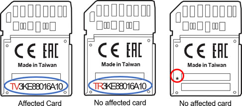 Affected SF-G Series TOUGH Specification Cards
