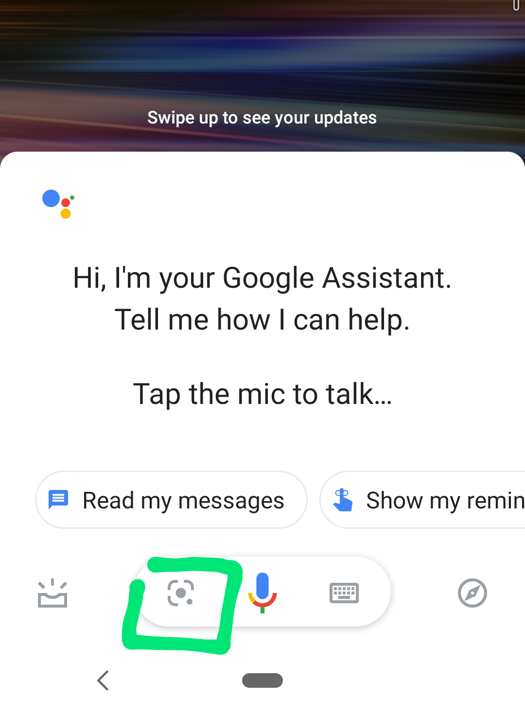 Screenshot showing how to use Google Assistant to access Google Lens (Android 9 and 10)..