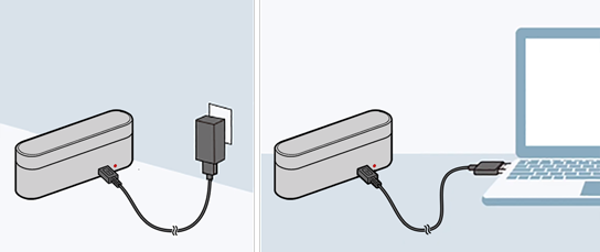 image that charges WF-1000X connecting the USB cable to the charging case
