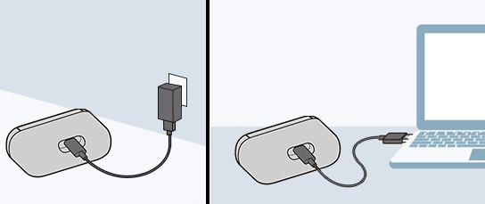 image that charges WF-H800 connecting the USB cable to the charging case