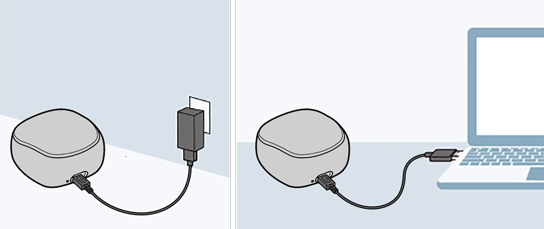image that charges WF-SP700N connecting the USB cable to the charging case