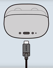 image that charges WF-SP900 connecting the USB cable to the charging case