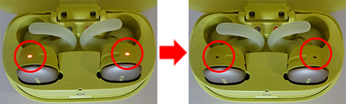image that the indicator of WF-SP900 changes from lighting up to turning off