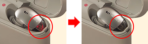 image that the indicator of WF-1000X changes from lighting up to turning off