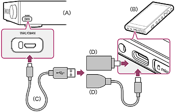 Connection diagram of a TA-ZH1ES amplifier connected with a USB adapter
