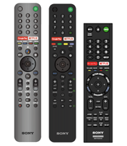 three types of voice command remote controls side by side