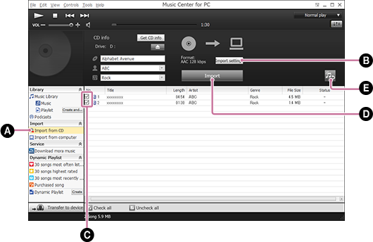 Screenshot that shows the procedure for importing songs from a music CD. For details on the procedure, refer to the body text.