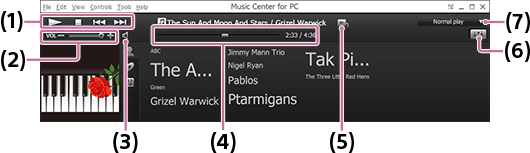 Screenshot of the playback operation area. For details on each item, refer to the body text.