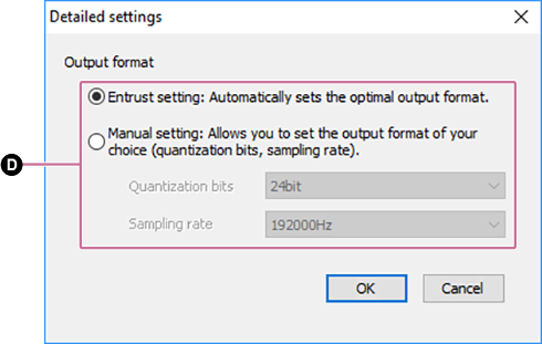 Screenshot of [Settings: Output format]. For details on the procedure, refer to the body text.